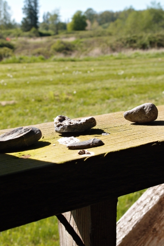 Someone put these rocks here on a windowsill. i thought they looked nice...nice as anything there can look. Nice for a farm building in decay.